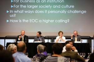 John Mundell, Nicola Sanna, Jeanne Buckeye, and John Gallagher participate in a panel discussion at the Catholic Studies Higher Calling of the Entrepreneur Series in Woulfe Alumni Hall on Tuesday, April 14, 2015.